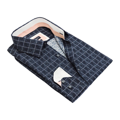Hazed Windowpane Button-Up Shirt // Navy