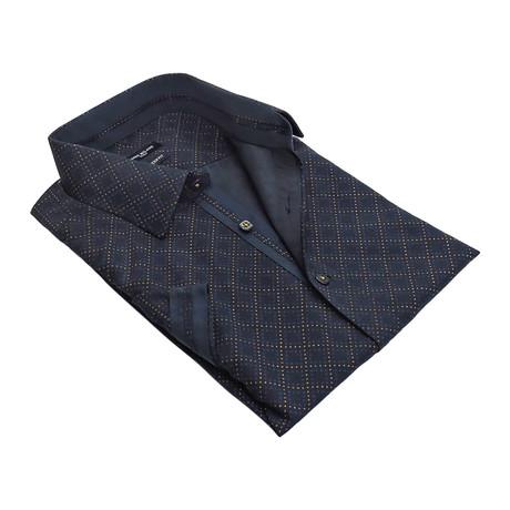 Tic-Tac Grid Button-Up Shirt // Navy
