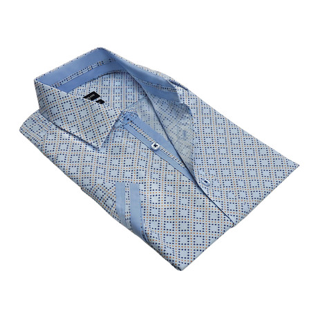 Tic-Tac Grid Button-Up Shirt // Blue