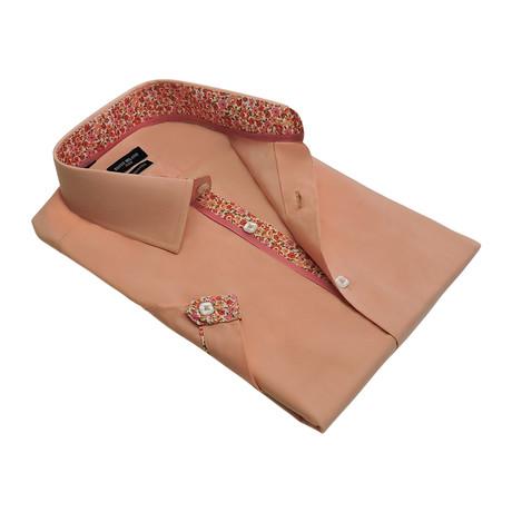 Floral-Trim Solid Button-Up Shirt // Peach