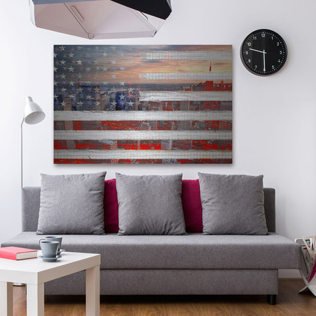 City of Stars and Stripes Painting Print // Brushed Aluminum