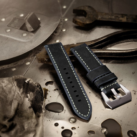 Aeromeister Watch Strap // Vintage Black and Grey Leather // S03