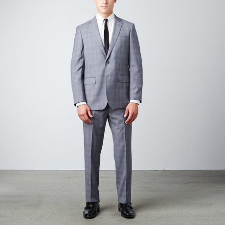 Windowpane Classic Fit Suit // Light Grey