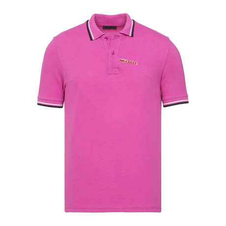 Contrast Stripe Trimmed Polo // Pink