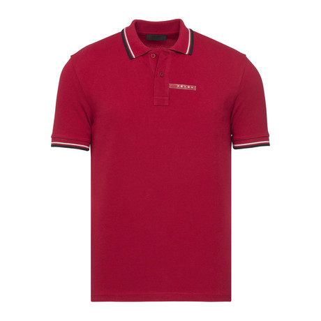 Contrast Stripe Trimmed Polo // Red