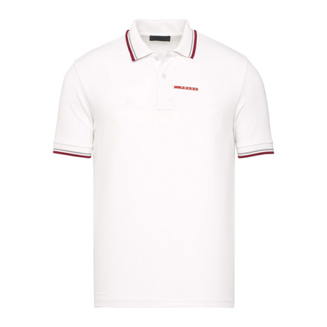 Contrast Stripe Trimmed Polo // White