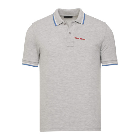 Contrast Stripe Trimmed Polo // Grey Melange (S)