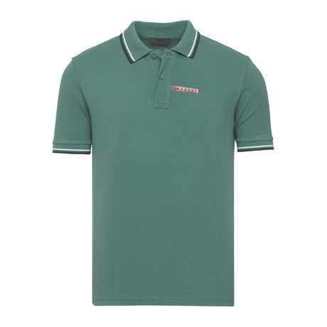 Contrast Stripe Trimmed Polo // Dark Green (S)