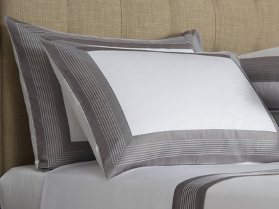 Photo of Frette Luxurious Heritage Bedding Porto // White + Slate Grey (Standard Sham) by Touch Of Modern