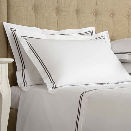 Hotel Classic // White + Slate Grey (Standard Pillowcase // Set of 2)