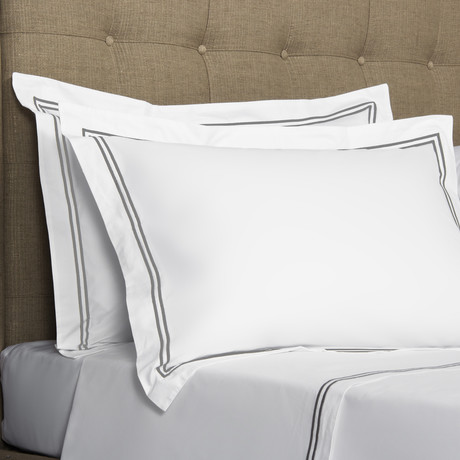 Hotel Classic // White + Ash Grey (King Pillowcase // Set of 2)