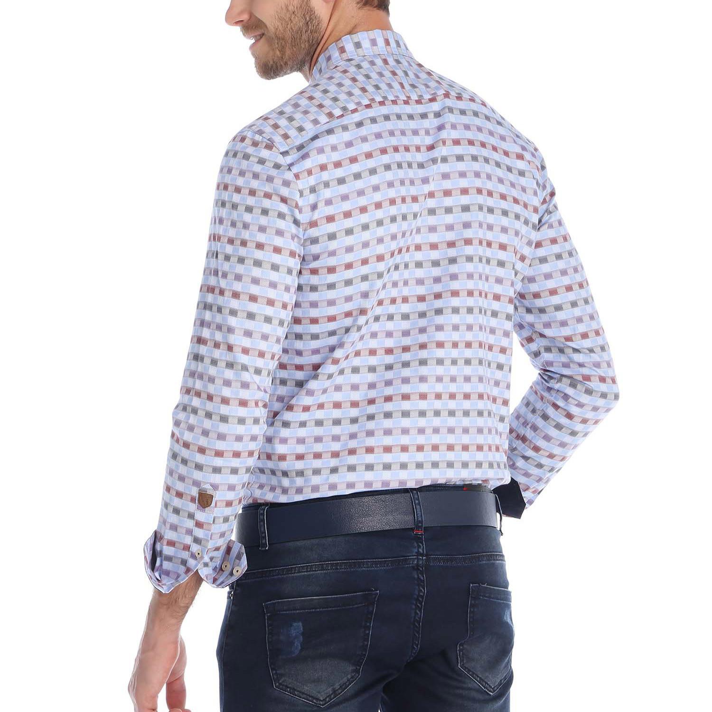Mid amateur button up shirt light blue purple s for Purple and blue shirt