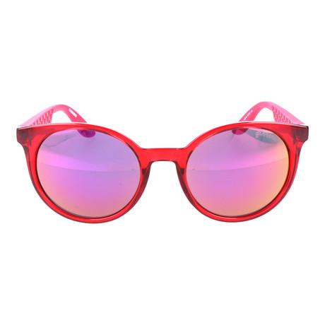 Clear Tonal Thick Rim Circular Wayfarer // Red + Orange Mirror