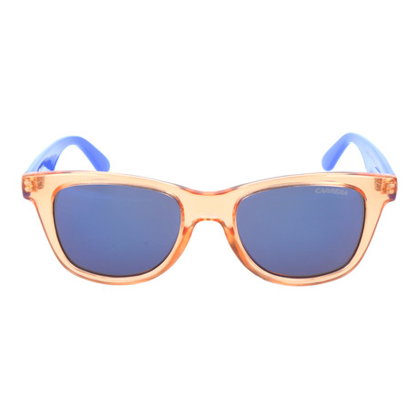 Clear Colorblocked Thick Rim Square Wayfarer // Orange + Blue