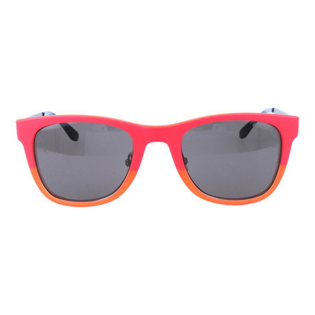 Colorblocked Removable-Frame Square Wayfarer // Hot Pink + Orange + Silver