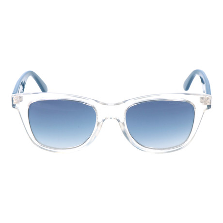 Clear Thick Rim Square Wayfarer // Clear + Blue