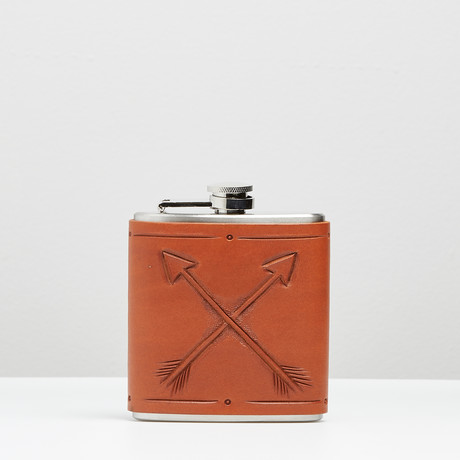 Leather Flask // Crossed Arrows
