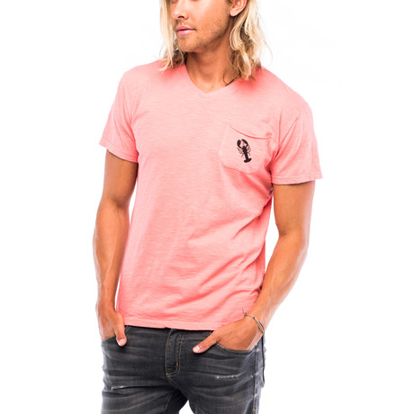 Lobster Slub Pocket T-Shirt // Miami Peach