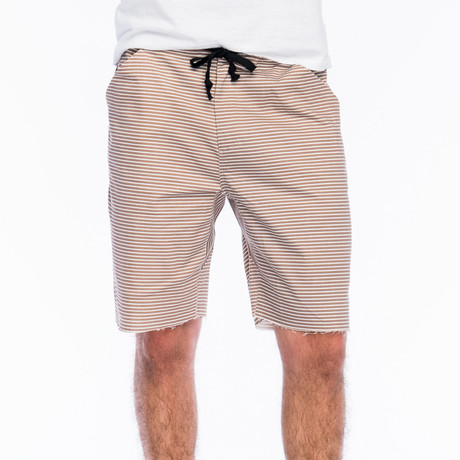 Baja Stripe Yacht Short // Khaki + White