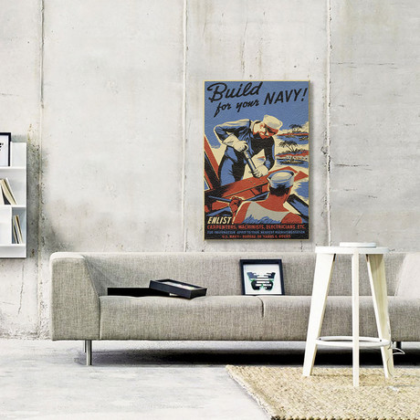 Build For Your Navy! Recruiting Vintage Poster // Leather