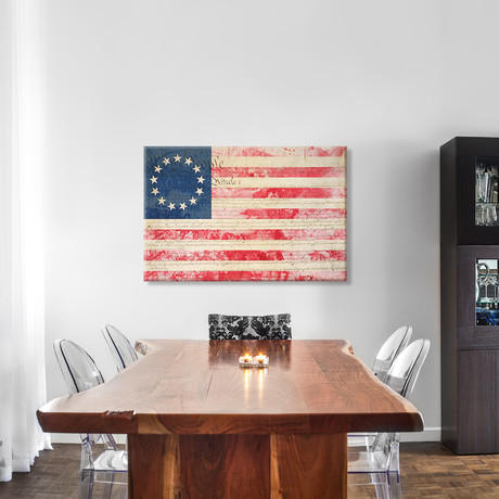 USA `Betsy Ross` Flag With Constitution Background II // Leather