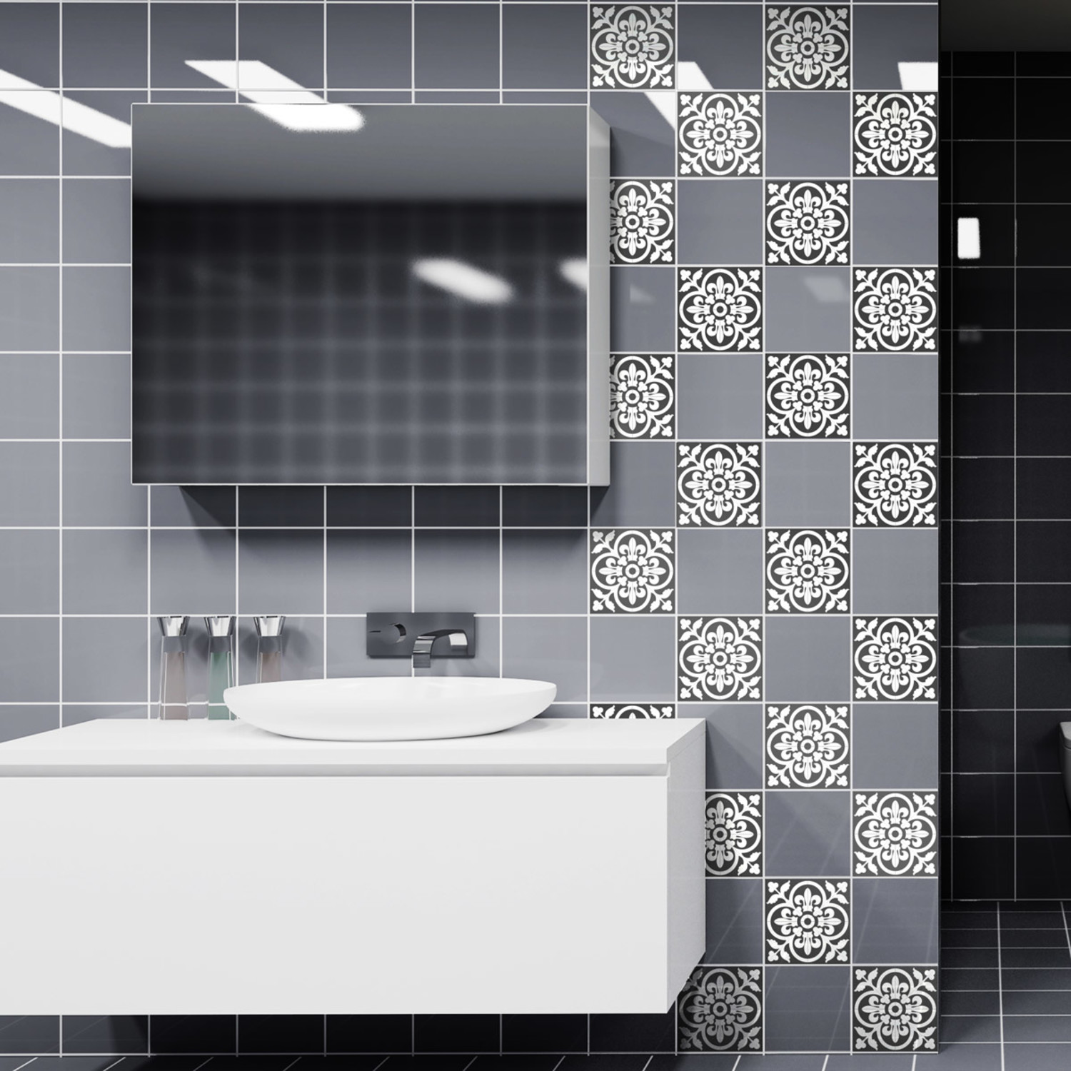 classic shade of grey tiles 60 ct 40 w x 24 h tile decals touch of modern. Black Bedroom Furniture Sets. Home Design Ideas