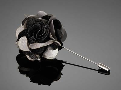 Touch Of Modern - DAPPERMAN Suiting Accessories Duet Color Flower Lapel Pin // Black + Silver Photo