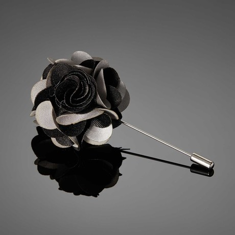Duet Color Flower Lapel Pin // Black + Silver