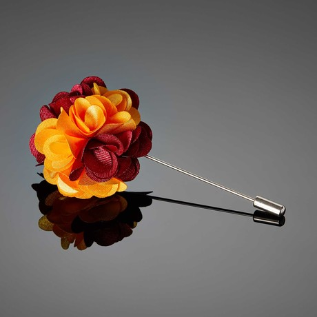 Dual Color Flower Lapel Pin // Red + Golden Rod