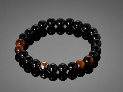 Photo of DAPPERMAN Dapper Jewelry Tellumo // Black Agate & Tigereye Stone Bracelet by Touch Of Modern