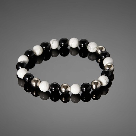 Tiberinus // Black Agate & White Turquoise Bracelet