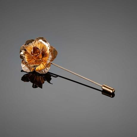 Metal Flower Lapel Pin // Gold