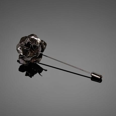 Metal Flower Lapel Pin // Gunmetal