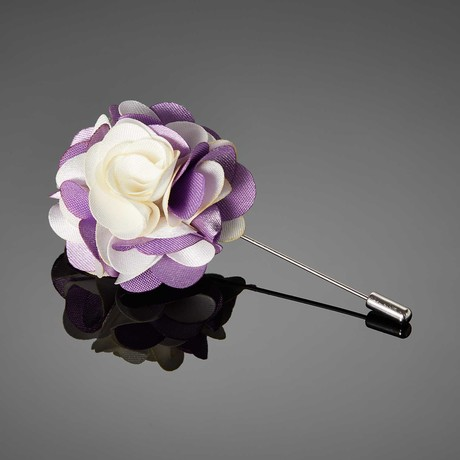 Duet Color Flower Lapel Pin // White + Lavender