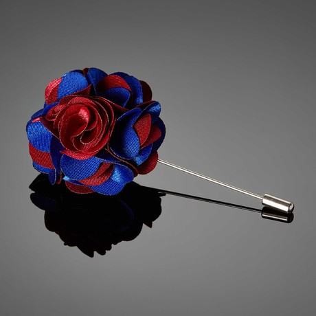 Duet Color Flower Lapel Pin // Red + Blue