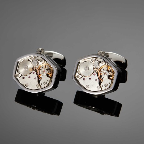 Wells Movement Cufflink // White Steel