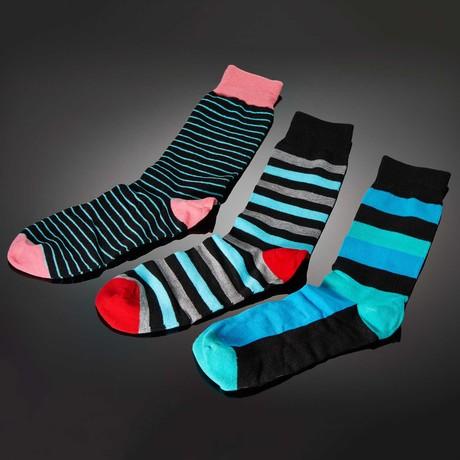 Dapperman Socks // Livorem Hand-Linked Socks // 3-Pack Stripes
