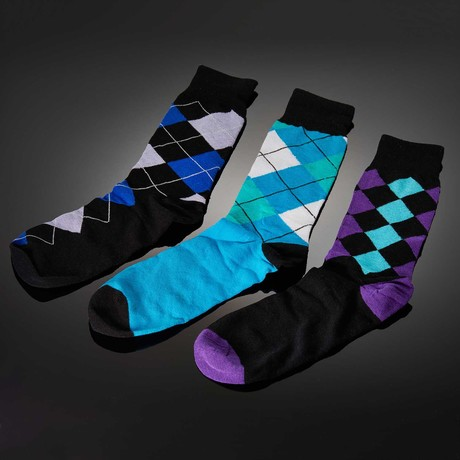 Dapperman // Gressus Hand-Linked Socks // 3-Pack Argyle