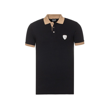 Bright Silver Shield Patch Polo // Black