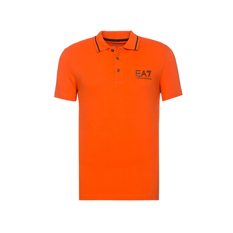 Metallic EA7 Bar Print Polo // Orange