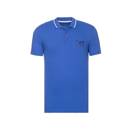 Metallic EA7 Bar Print Polo // Blue (XS)