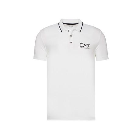 Metallic EA7 Chest Print Polo // White