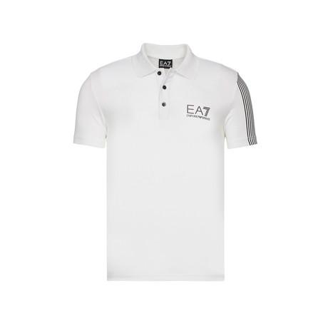 EA7 Chest Print Striped Sleeve Polo // White