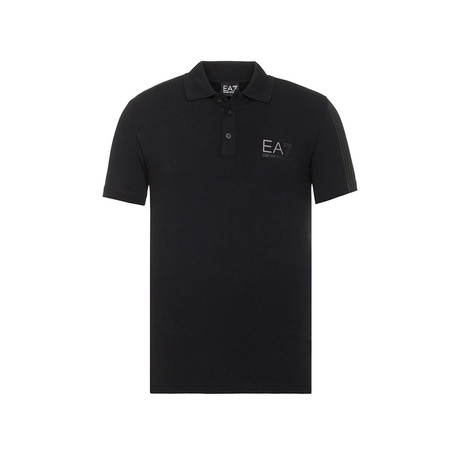 EA7 Chest Logo Print Polo // Black