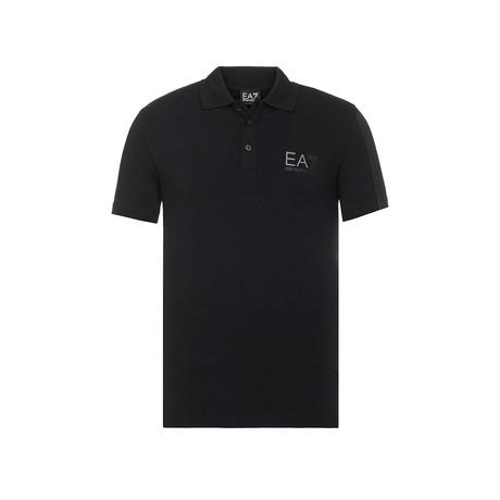 EA7 Chest Logo Print Polo // Black