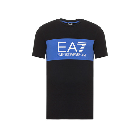 EA7 Contrast Chest Stripe Logo Tee // Black + Blue