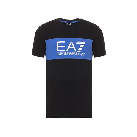 EA7 Contrast Chest Stripe Logo Tee // Black + Blue (XS)
