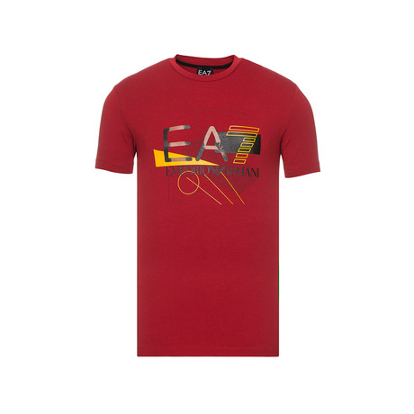 Abstract Graphic EA7 Logo Tee // Red (XS)