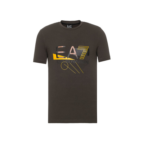 Abstract Graphic EA7 Logo Tee // Brown (XS)