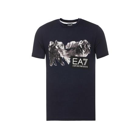 EA7 Mountain Graphic Tee // Navy (XS)